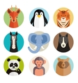 set animal icons in round buttons vector image vector image