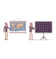 set of male teacher near the map blackboard vector image vector image