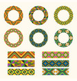 set tribal decorative elements african round vector image