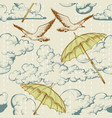 sky seamless pattern clouds and rain umbrellas vector image