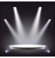 stage empty round podium illuminated by vector image vector image