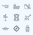 transportation icons line style set with direction vector image vector image