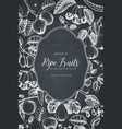 vintage fruits card design on chalkboard vector image vector image