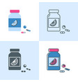 vitamin bottle icon set in flat and line style vector image