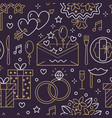 wedding party seamless pattern flat line vector image vector image