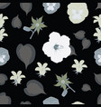 white flowers pattern on a black background vector image vector image