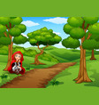 women red hooded squat at the forest vector image vector image