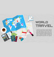 world travel banner wooden vector image vector image