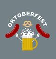 Oktoberfest logo Beer mug with foam Fried sausages vector image
