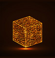 abstract cube with glowing particles vector image
