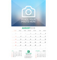 august 2018 wall monthly calendar for 2018 year vector image vector image