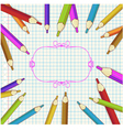 Background with colored pencils and place for text vector image