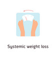 bare feet on weight scales cartoon style vector image