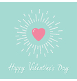 Big pink shining heart Flat design Valentines day vector image vector image