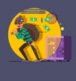 burglar thief in mask on big opened safe full vector image