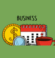 calendar money magnifier and coffee business vector image