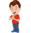 cartoon boy eating ice cream vector image vector image