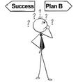 cartoon of business man doing success or plan b vector image