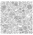 cartoon set of pizzeria objects and symbols vector image