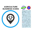 cow map marker rounded icon with set vector image vector image