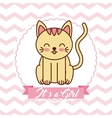cute cat animal card baby shower vector image