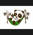 cute little panda character in bamboo hammock vector image
