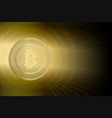 dark background with a silhouette of a bitcoin vector image vector image