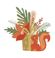 Design with gift and squirrel vector image vector image