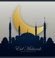 eid mubarak with mosque silhouette and golden moon vector image vector image