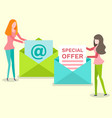 female with newsletter in opening envelope vector image vector image