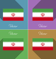 Flags Iran Set of colors flat design and long vector image vector image