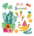 floral summer card with tropical leaves and vector image vector image
