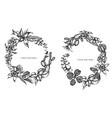 floral wreath black and white ficus iresine vector image vector image