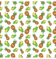 Fruits Seamless Background with Funny Corn vector image vector image