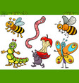 funny insects characters set cartoon vector image