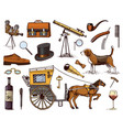 gentleman accessories hand drawn set victorian vector image