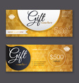 gift voucher template with gold pattern gift vector image