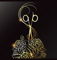 golden scissors and roses silhouette for a beauty vector image vector image