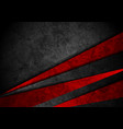 grunge tech material red and black background vector image vector image