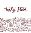 hand drawn sweets shop or confectionary vector image vector image