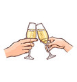 hands with champagne in vector image