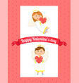 happy valentine day card angel with heart vector image vector image