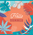 hello summer tropical banner with leaves vector image