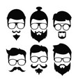 hipster beard hair and accesories vector image