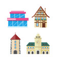 historic and modern buildings flat set vector image