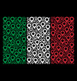 italian flag pattern of map marker items vector image