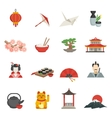 Japanese Icons Flat Set vector image