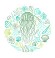 jellyfish and shells in line art style hand drawn vector image vector image