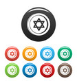 jewish coin icons set color vector image