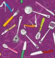 kitchen tools background vector image